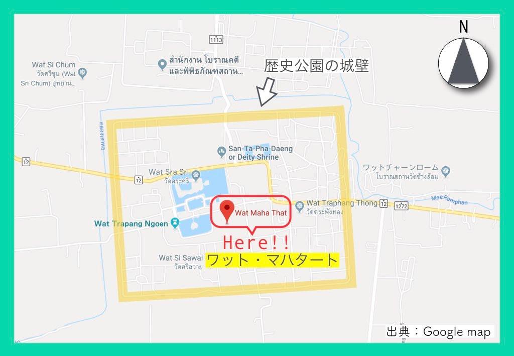 地図(スコータイ歴史公園)