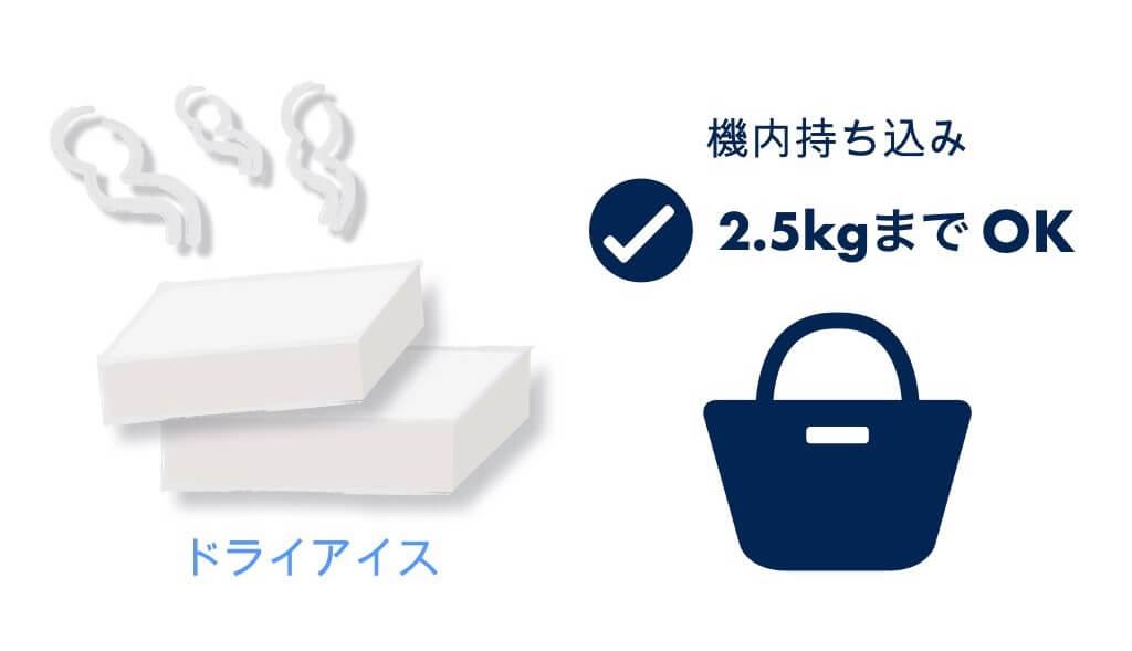 ドライアイスは2.5kgまで持ち込みOK