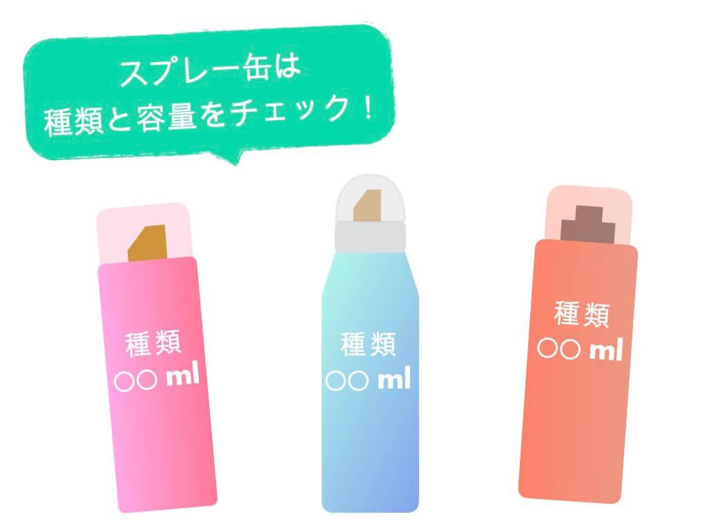 スプレー缶は種類と容量をチェック
