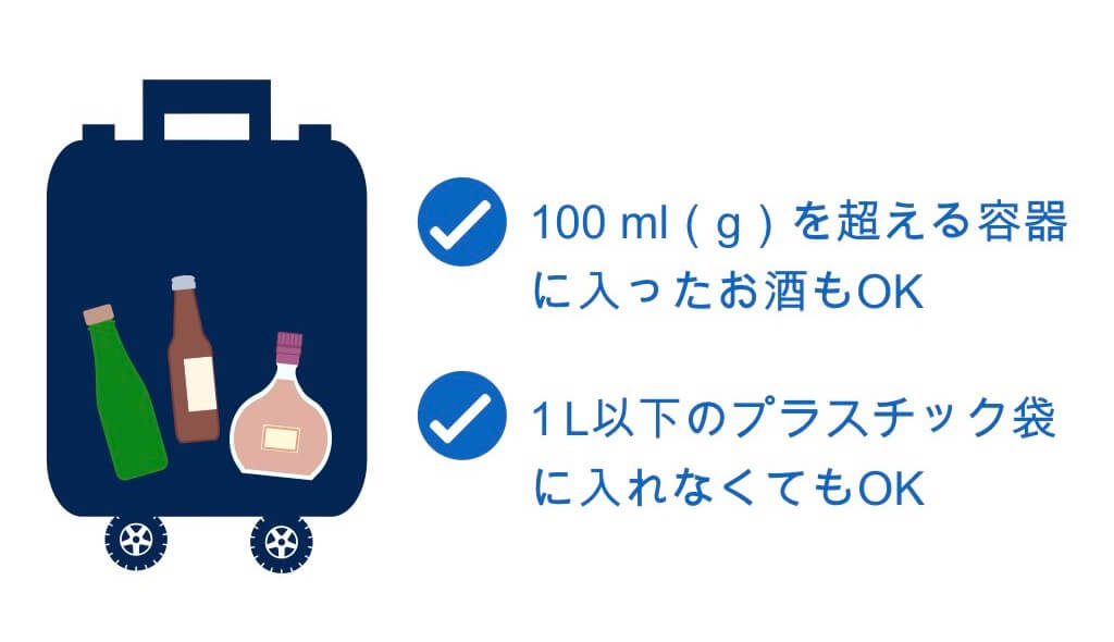 預け荷物に入れるお酒は100mlを超えてもOK