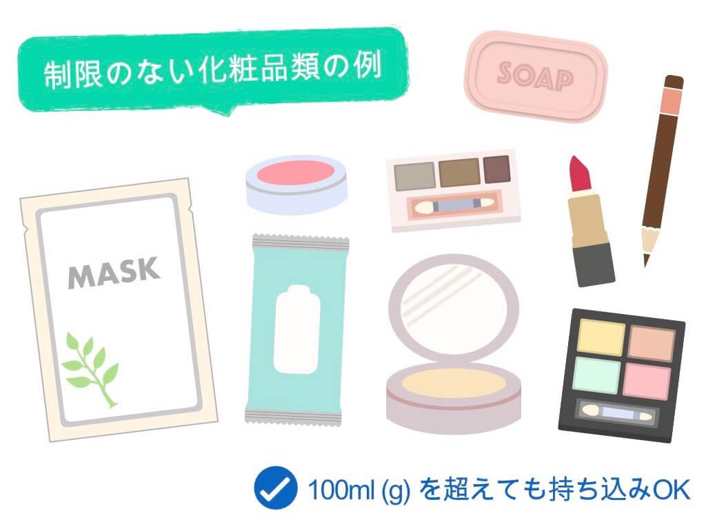 制限のない化粧品類の例