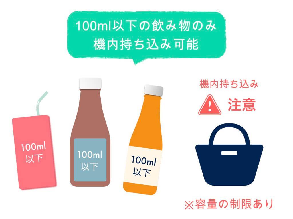 飲み物は100ml以下の物のみ持ち込み可能