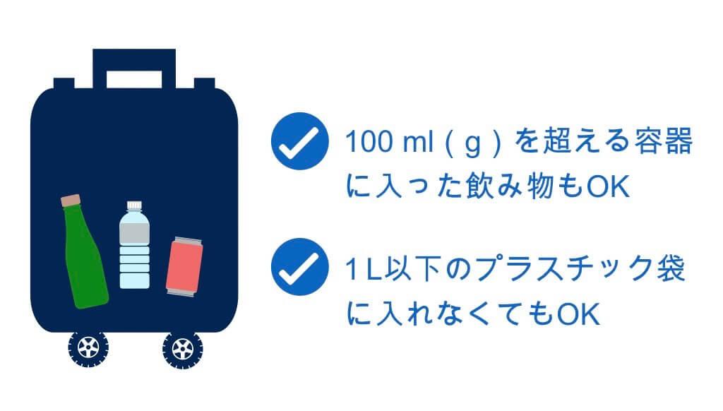 預け荷物に入れる飲み物は100mlを超えてもOK