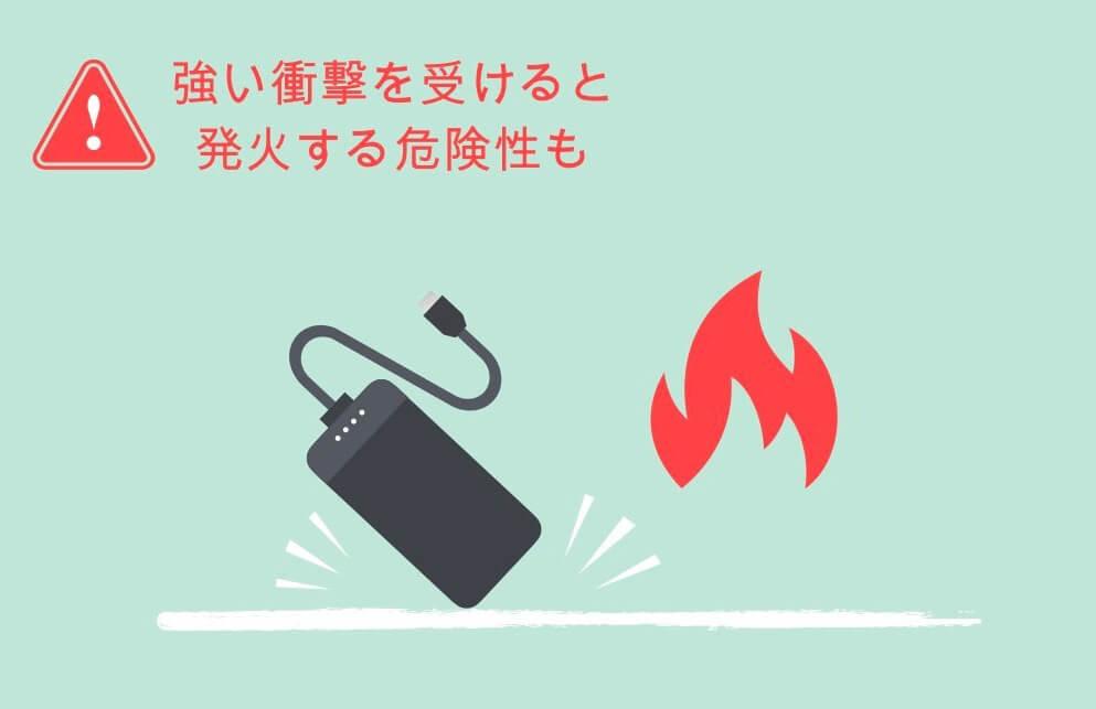 強い衝撃を受けると発火の危険性あり