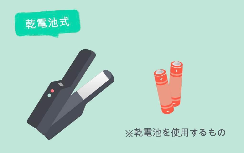 乾電池式ヘアアイロン