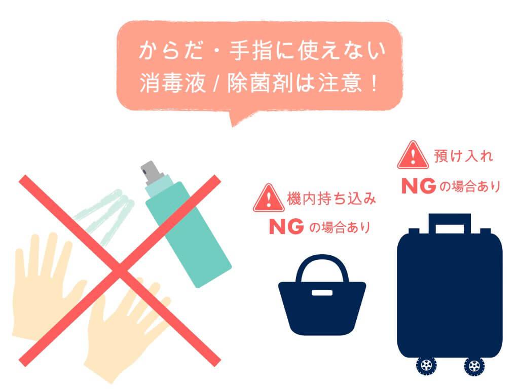 身体・手指に使えない消毒液・除菌剤は注意