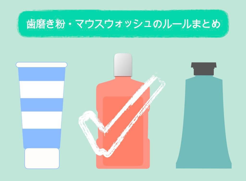歯磨き粉・マウスウォッシュのルールまとめ