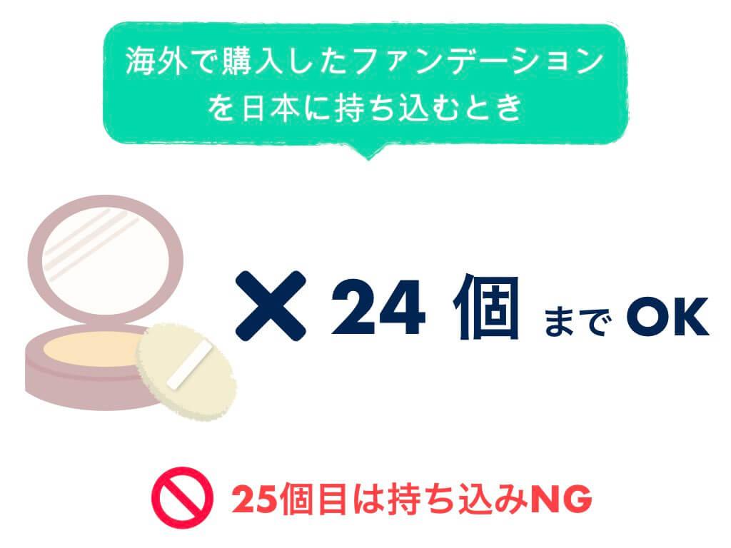 日本に持ち込みできるファンデーションは24個まで