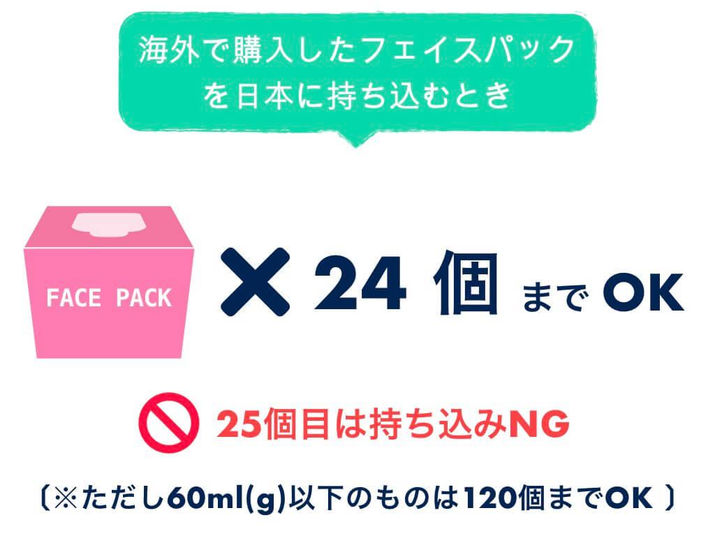 日本に持ち込みできるフェイスパックは24個まで