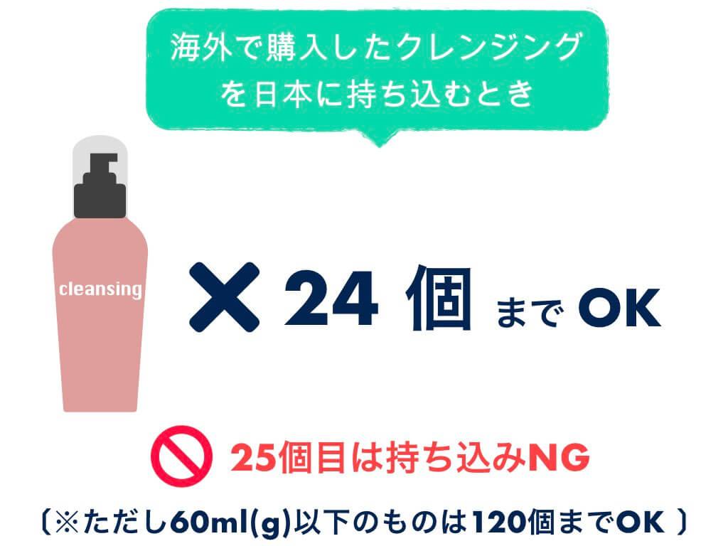 日本に持ち込みできるクレンジングは24個まで