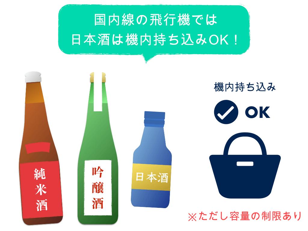 国内線の飛行機では日本酒は機内持ち込みOK